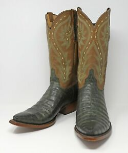 Lucchese Men's Hunter Green Exotic Cayman Crocodile Cowboy Boots New Unworn 12D