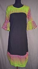 Stunning Black Dress with African Ankara Details - size UK 14       (#A3)