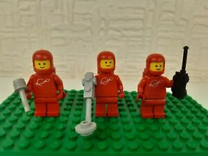 LEGO Space Classic Vintage Red Astronaut Minifigure X3