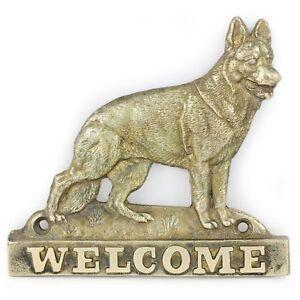 German Shepherd - brass tablet with image of a dog, Art Dog USA