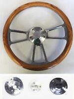 "14"" Oak Wood Grip & Billet Steering Wheel Polished Adapter Shallow Dish GM kit"