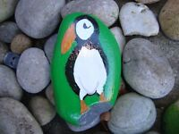 Puffin pebble art - hand painted stone, memorial, garden ornament, paperweight