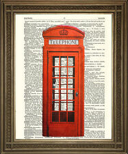 PHONE BOX PRINT: Traditional British Red Telephone Booth, Dictionary Art Print