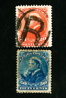 Canada Stamps # 46-7 VF Used Catalog Value $210.00