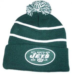 NFL New York Jets Knit Pom Beanie Skull Cap White/Green-SEASON TICKET HOLDER