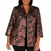 ALEX EVENINGS NEW Women's Plus Size Metallic Jacquard Unlined Jacket Top 1X TEDO