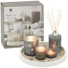 5pcs Decorative Fragrance Scented Candle Reed Diffuser With Wooden Tray Gift Set