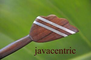 Carved wooden HAIR STICK or SHAWL PIN inlaid metal LEAF Sono wood handmade new