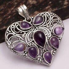 "Amethyst Ethnic Handmade Heart Pendant Jewelry 2.2"" AP 18434"