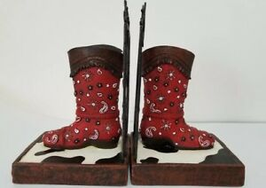 Western Boots Bookends Home Decor Cow Print Rustic Stars Country