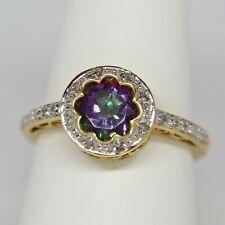 Green Mystic Topaz Diamond Ring Heart Filigree 14K Yellow Gold Size 7