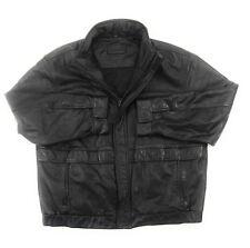 Leather Bomber Heavy Aviator Jacket Coat John Ashford Mens Black XL Vintage