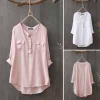 Women Long Sleeve Buttons V Neck Casual Shirt Tunic Tops Asymmetrical Hem Blouse