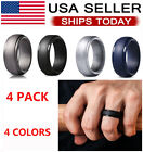4 Pack Silicone Flexible Wedding Ring Engagement Men Women Rubber Band Sport Gym
