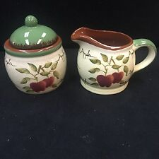 Home Interiors Apple Orchard Collection Creamer & Sugar Bowl Excellent Condition