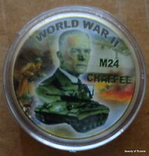 WWII light tank M24 CHAFFEE 24K GOLD PLATED 40 mm COIN
