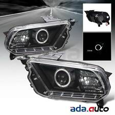 2010-2014 Ford Mustang [Dual CCFL Halo] Projector Black Headlights Pair