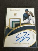 Justus Sheffield 64/99 2019 Immaculate 4 Color Rookie Patch Auto