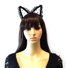 Black Headband With Polka Dot Lace Cat Ears