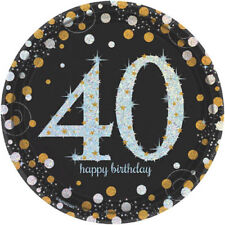 SPARKLING CELEBRATION 40th Birthday SMALL PAPER PLATES (8) ~ Party Supplies Cake