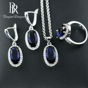 Unique Sapphire Sets Earring Ring Necklaces 925 Silver Xmas Gifts For Her Women