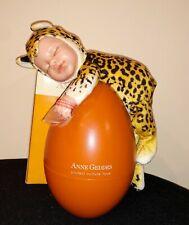 New In Box Anne Geddes Newborn Baby Leopard Doll in Orange Egg, 2007 Rare