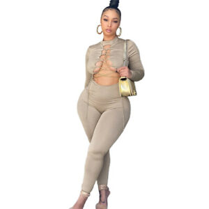 New Stylish Women Long Sleeves Chain Hollow Out Patchwork Solid Club Jumpsuit