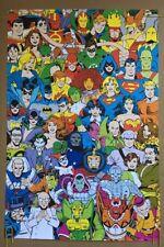 Superhero Poster DC Comics Collage Pin-up Vintage Style Superheroes Villains