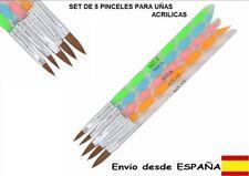 5 PINCELES PARA CREAR UÑAS ACRILICAS, UV GEL, PORCELANA NAIL ART. MANICURA