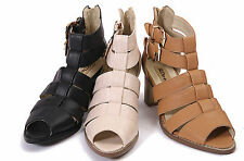 aaedad8f52f1 WOMENS LADIES STRAPPY HEEL GLADIATOR CUT OUT GEEK BOOTS SANDALS SHOES SIZE 3 -8