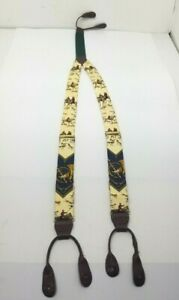 Ralph Lauren POLO Suspenders Braces Leather & Silk w Fox Hunting Scene