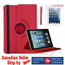 360-degree Swivel Leather Case + FREE Clear Screen Protector for iPad Mini,Red