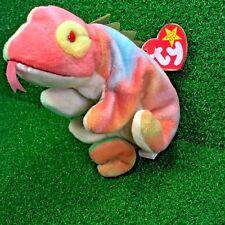 Ty Beanie Baby Iggy The Tye-Dye Iguana Tongue & Spine Hang Tag Neon/Pastel MWMT