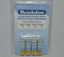 Crimp Bead Gold Plated Beadalon Variety Size 600pk Jewelry Craft Bead Design