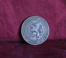 1907 Netherlands 1 Cent Bronze World Coin KM132.1 Crowned Lion sword animal