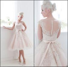 Short Lace Bridal Gown Cap Sleeves Tea Length Wedding Dresses Custom Size