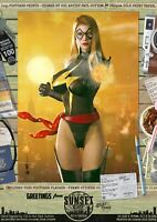 Ms Marvel Sexy Carol Danvers Captain Sunset City Comic A3 Signed Print Marvel