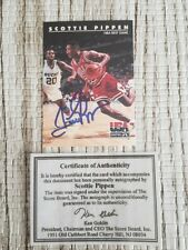 SCOTTIE PIPPEN Autographed 1992 USA BASKETBALL NBA card.. Authentic with COA