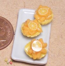 1:12 Scale 3 Orange Cup Cakes On A Ceramic Plate Dolls House Food Accessory PL32