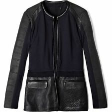 Francis Leon Mix Media Quilted Black Leather Owens Ann Moto Biker Jacket S