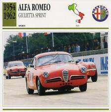 1954-1962 ALFA ROMEO GIULIETTA SPRINT Sports Classic Car Photo/Info Maxi Card