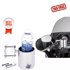 Diamond Plate Universal Stainless Steel Motorcycle Drink Cup Holder Handlebar