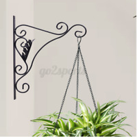 2PCS Cast Iron Garden Hanging Basket Hook Bracket Planter Home Wall Ornate Decor