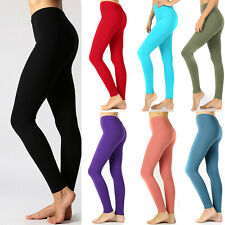90883a68e5d1 Womens Soft Stretch Cotton High Waisted Leggings Long Workout Yoga Pant  Fitness