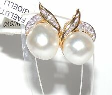 ORECCHINI ORO DIAMANTI PERLE  gold diamond earrings pearls