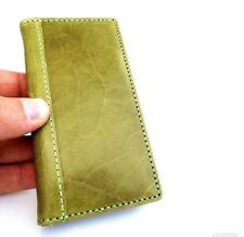 genuine natural leather case for iphone 5 5s cover book wallet slim apple green