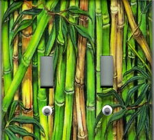 GREEN BAMBOO HOME WALL DECOR DOUBLE LIGHT SWITCH PLATE COVER