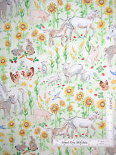 Farm Animal Horse Sheep Pig Hen Cotton Fabric Red Rooster Country Days - Yard