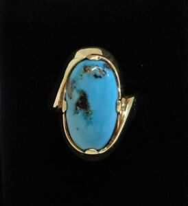 Fine Vintage c.1970's Turquoise Ring 585 (14ct) Gold - Size O 1/2 (US 7.25)