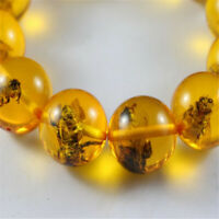 20mm Boutique Amber Bee Circle Bead Bucket Bead Bracelet energy Wrist Meditation